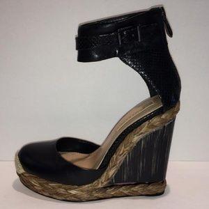 Wedge Platform Ankle Strap Leather Sandals
